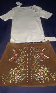 Brown Suede Embroidered Mini Skirt
